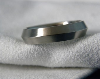 Knife Edge Ring or Wedding Band, Titanium, Satin Finish