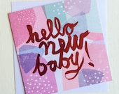 Hello New Baby Card (Pink)