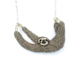 Sloth necklace - animal jewelry, crochet sloth, statement necklace, cute jewelry, animal lover, handcrafted jewelry, wildlife, one of a kind