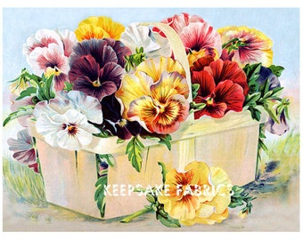 Beautiful Pansies Quilt Reproduction Fabric Crazy Quilt Block Free Shipping World Wide (K88