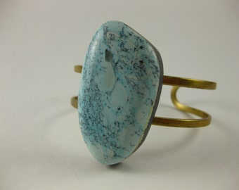 TURQUOISE SOLO - Raw brass cuff with OOAK Turquoise Stone cabochon cuff Bohemian Fall Style Boho Lux Boho Style