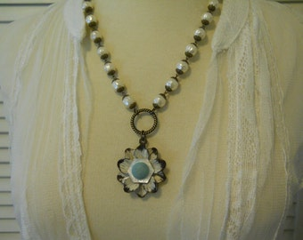 Handmade Statement Necklace Vintage Czech Glass Pearl Chain with Large Metal Flower Vintage Fabric Mother of Pearl Button Center