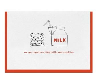 """Letterpress """"Milk & Cookies"""" Greeting Card"""