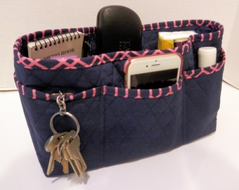 "Purse Organizer Insert/Large/Quilted/4"" Enclosed / Navy and Pink"