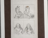 Antique Engraving, George Catlin, Native Americans, Framable Art, Pawnee Tribe, Wall Art, Collectibles, Vintage Ephemera