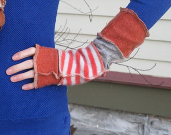 Arm Warmers - Fingerless Gloves - made from recycled sweaters