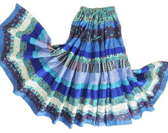 Long Gypsy Three Tier Full Circle Patchwork Skirt