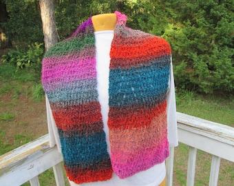Bright Multi Colored Crocheted Scarf
