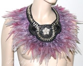 Dusty grey rose silver beaded rhinestones neck corset shoulder statement bib collar wrap Necklace high fashion couture