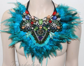 Mystical Gaia Turquoise feathered hand beaded rhinestones neck collar shoulder wrap statement piece high fashion couture