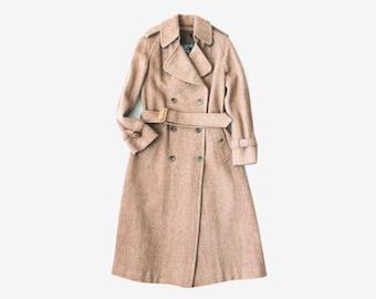 Vintage Burberry Tweed Wool Brown Trench Coat