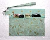 Mint Green Clutch, Metallic Gold Wristlet, Floral Zippered Wallet, Heart Print Small Purse, Makeup Bag, Phone Holder, Camera or Gadget Bag