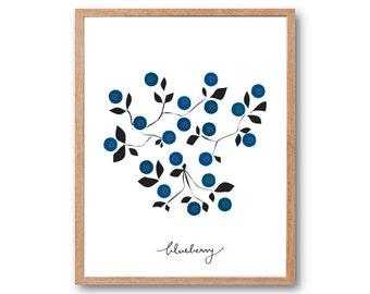 Blueberry Art print, fruit art print, Fruit Illustration, Kitchen wall decor, Vegetable art Print, Botanical Illustration, Botanical art pri