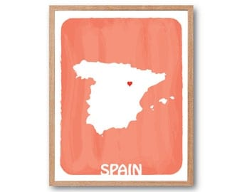 Spain Map - Custom map, Personalized gift, Country map, Watercolor Style , Travel map , Wedding GIft, Birth Stats, kids room wall