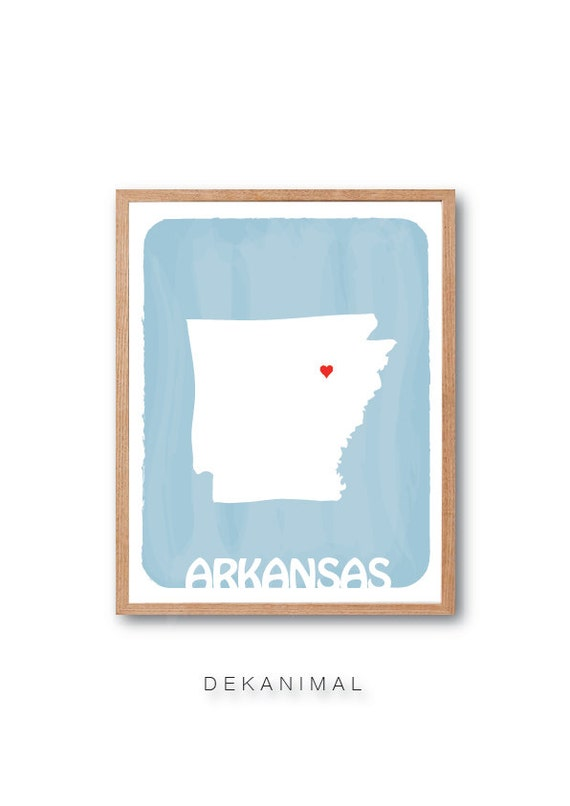 Custom  Wedding Gift - AKANSAS State Map - Baby Blue- Personalized gift Watercolor Style Love Birthday Anniversary GIft Children Kids poster