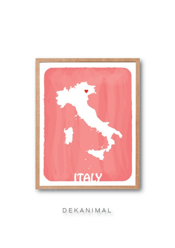 ITALY Country Map Personalized Custom Color Watercolor Style Love Map Wedding Birthday Anniversary GIft Children decor Kids poster