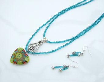SET - Aqua, Teal & Yellow Millefiori Heart Pendant Layered Necklace and Earrings