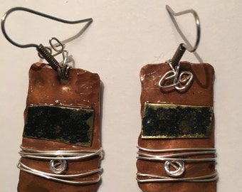 Copper jewelry, Copper and mixed media earrings, sterling silver  Steampunk, Boho, raw material