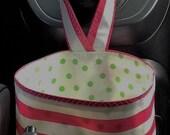 Beth's Pink Stripes Oilcloth Car Trash Bag Receptacle Storage