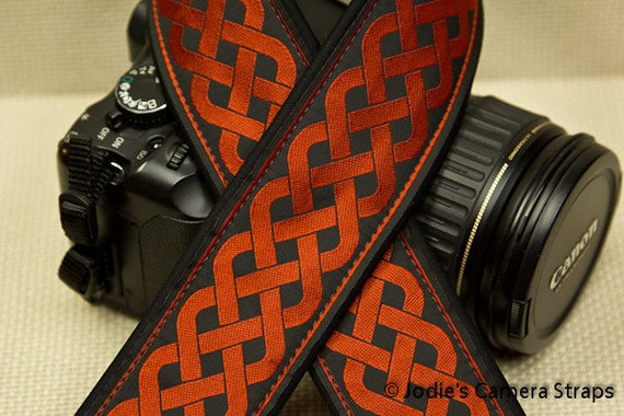 Camera Strap 2 in Wide Custom Padded Celtic Running Knot Design Red on Black DSLR SLR