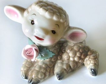 Ceramic Lamb Figurine Hand Painted Baby Lamb with Pink Rose Hand Painted Japan