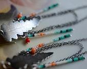 Libra Fern Earrings. Cast Bronze. Seed Beads. Coral.
