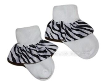 Zebra Baby Socks,Ribbon Ruffle Socks,Animal Print Baby Socks,Frilly Socks,Baby Ruffle Socks,Ribbon Socks,Frilly Baby Socks,Zebra Black White