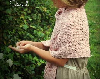 Download Now - CROCHET PATTERN Blush On The Rose Shawl - Ladies Size - Pattern PDF