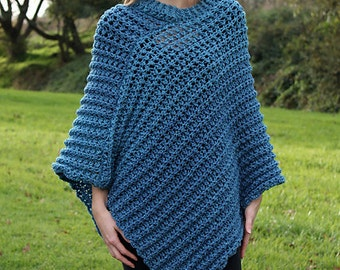 Download Now - CROCHET PATTERN Tweed Poncho - Ladies Sizes S/M, L/XL, 2X/3X - Pattern Pdf
