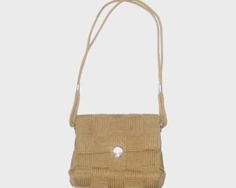 1970s purse / vintage 70s purse / jute / Natural Beige Jute Italian Purse