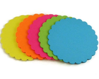 Paper Die Cut Scalloped Circles  3 inch Circles in  South Beach Set of 25