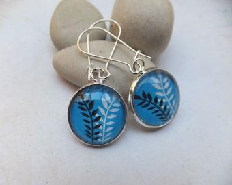 Black and White Leaves on Aqua Glass Nickel free earrings