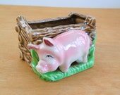 Vintage Pig with Trough Planter • Mid Century Pig Planter • Mid Century Made in Japan