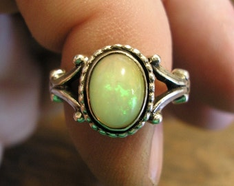 Natural Opal Ring, Sterling Silver, size 4.75, Green Fire Opal!