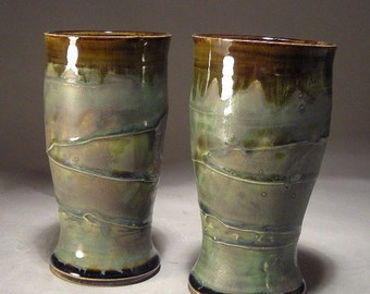 Pair of 16oz Tumbler Pilsner style Cups With Slip Texture and Layered Glaze Finish