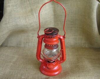 Vintage Red Metal Lantern Wing Wheel No. 350 Made In Japan Mini Railroad Lantern 1940s