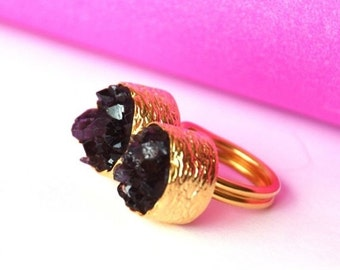 15% Discount Duo Amethyst Ring Made With Silver and Gold
