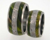 Mens and Womens Wedding Ring Set, Meteorite and Wood Band