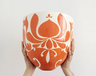 Handmade, Pottery, Large, Bowl, Gypsy, Graphic Pattern, Orange