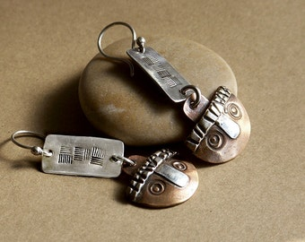 Whimsical Penny Face Earrings Mixed Metals Sterling Silver & Vintage Copper Coins . Rustic Tribal Wabi Sabi Southwestern Boho Jewelry