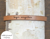 begin anywhere - adjustable leather bracelet  (additional colors available)