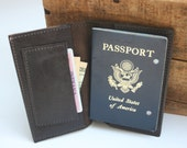 Soft Elegant Brown Leather passport cover with pocket for cash and cards