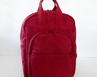 Sale - Red Water Resistant Nylon Backpack - School bag, Diaper bag, Backpack, Travel Bag - YOGO