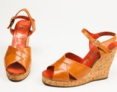 Vintage 1970's Alfiero Maccanti Cork Tan Platform Sandals Size US 9