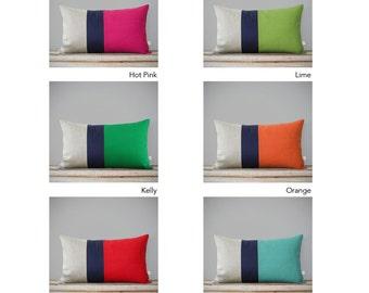 CUSTOM Color Block Pillow Covers - Lumbar Pillows (12x20) Modern Linen Pillows by JillianReneDecor - Navy Striped Trio, Colorblock