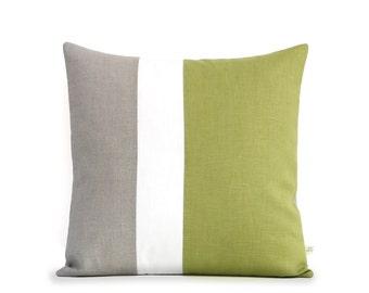 Mod Colorblock Pillow Cover (20x20) Linden Green - Avocado Color Block Pillows by JillianReneDecor - Modern Home Decor - Mid Century, 70s