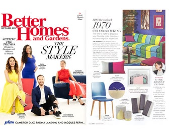 As seen in Better Homes and Gardens Magazine: Signature Colorblock Pillow in Hot Pink, Navy & Natural Linen by JillianReneDecor, Pink Pillow