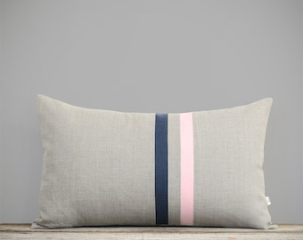 Pastel Pink and Navy Blue Striped Pillow Cover - 12x20 - Modern Home Decor by JillianReneDecor - Colorful Colorblock Stripes - Rose Quartz