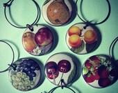 Vintage Fruits Wine Charms set of 6