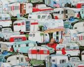 Travel Trailers Cotton Fabric / Elizabeth's Studios / Vintage Travel Trailers - Pickup Trucks / Red, Aqua, Black, Yellow, White / One Yard
